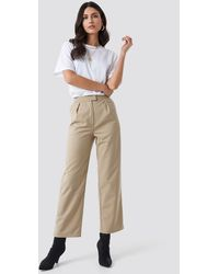NA-KD Pleated Trousers - Naturel
