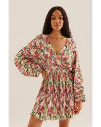 NA-KD Boho Mini-jurk Met V-hals En Plooitjes - Meerkleurig
