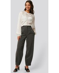NA-KD Grey Darted Suit Trousers