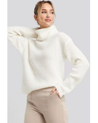 NA-KD Big Turtleneck Knitted Sweater White
