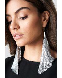 NA-KD - Hanging Metal Mesh Earrings Silver - Lyst
