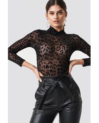Motel Rocks - Berani Bodysuit Animal Black Net - Lyst