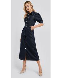 NA-KD Puff Sleeve Belted Denim Dress - Blauw