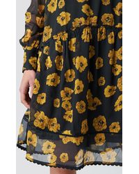 NA-KD Boho V-Neck Flowy Chiffon Dress - Schwarz