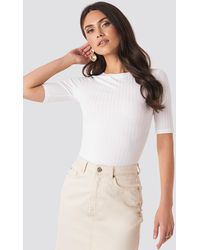 NA-KD - High Round Neck Ribbed Tee White - Lyst