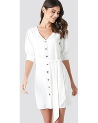 NA-KD Paola Maria x Button Down Balloon Sleeve Dress - Weiß