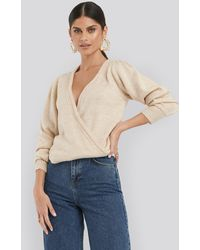 NA-KD Overlap Puff Sleeve Knitted Sweater - Naturel