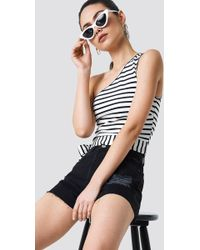 NA-KD - Striped One Shoulder Top White - Lyst