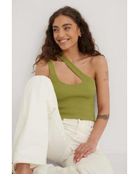 NA-KD Green Asymmetric Knitted Ribbed Singlet