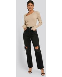 NA-KD Distressed Straight Fit Jeans - Zwart