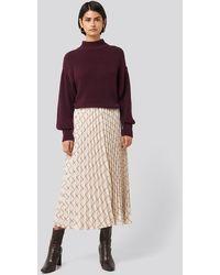 NA-KD Big Check Pleated Skirt - Neutre