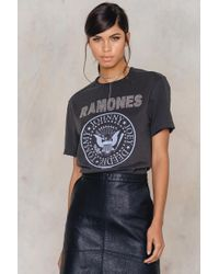 Amplified Ramones Logo Silver Diamante T-shirt - Gray
