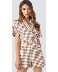 NA-KD Trend Checked Playsuit - Braun