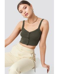 NA-KD - Button Up Cami Top Green - Lyst