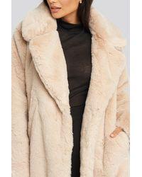 NA-KD Soft Faux Fur Long Coat - Naturel