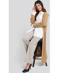 NA-KD Turn Up Cuff Open Front Cardigan - Natur