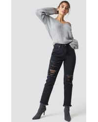 NA-KD - Destroyed Leg Denim Black - Lyst