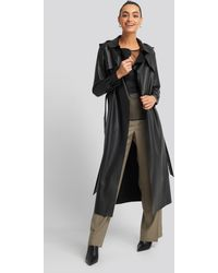 Trendyol Long Pu Coat Black
