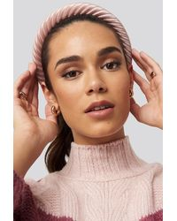 NA-KD Striped Velvet Hairbands - Roze
