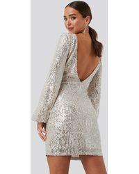 NA-KD Open Back Mini Sequin Dress - Naturel