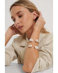 NA-KD Armklem-armband Met Grote Parel - Metallic