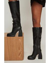 NA-KD Shoes Retro-Plattform-Stiefel - Schwarz