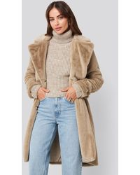 NA-KD Beige Double Breasted Belted Faux Fur Coat - Multicolour
