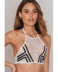 Glamorous - High Neck Striped Bralette - Lyst