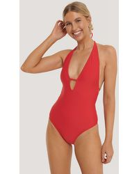 NA-KD Red Deep V-cut Swimsuit
