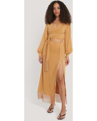 NA-KD Midi-jurk Met Zijsplit - Oranje