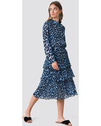 Rut&Circle Layer Pleat Skirt - Blau