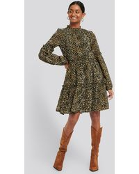 NA-KD Ruffle Detail Chiffon Dress - Mehrfarbig