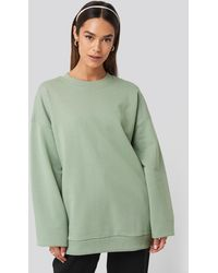 NA-KD Green Oversized Crewneck Sweatshirt