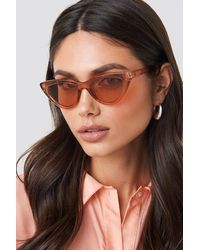 NA-KD Rounded Cat Eye Sunglasses - Rood