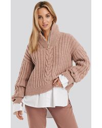 NA-KD Wool Blend Half Zip Cable Sweater - Pink