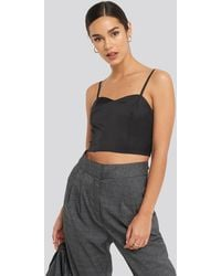 NA-KD Bust Detail Cropped Top Black