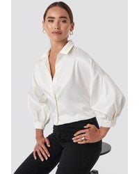 NA-KD Puff Sleeve Satin Blouse - Wit