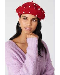 NA-KD Faux Pearl Beret Hat Red