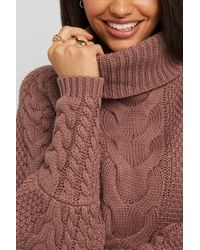 NA-KD High Neck Cable Knitted Ribbed Sleeve Sweater - Roze
