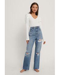 NA-KD Rechte Versleten Jeans Met Hoge Taille - Blauw