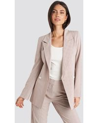 NA-KD Checkered Double Breasted Blazer - Roze