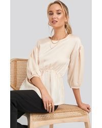 NA-KD - Round Neck Gathered Peasant Blouse - Lyst