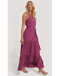 Trendyol Purple Long V-neck Dress