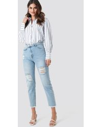 Trendyol Ripped Detailed High Waist Mom Jeans Blue
