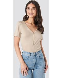 NA-KD - Button Up Ribbed Top - Lyst