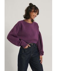 NA-KD Purple Puff Sleeve Cropped Knitted Sweater