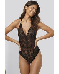 NA-KD V-neck Lace Bodysuit Black