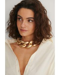 NA-KD Gold Oversize Matte Chain Necklace - Metallic