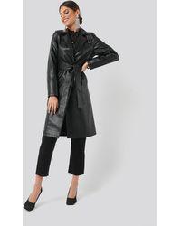 NA-KD Croc Long Jacket - Zwart