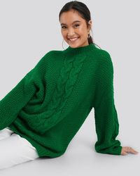 NA-KD Oversized Cable Knitted Sweater - Groen